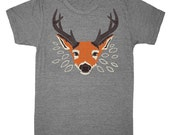 Deer T-shirt - Unisex / Mens Tee Grey Shirt Woodland Nature Cute Orange Animal Forest Antlers Retro Vintage Leaves Tree Athletic Gray Tshirt