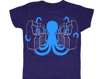 KIDS Octopus Arcade Tshirt Videogame Atari Nintendo Sega Computergame Xbox Nerd Geek T-shirt Boy Girl Minecraft Toddler Children Tee Shirt