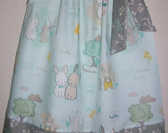 Pillowcase Dress with Bunny Littlest Bunny Dress Mint and Grey Art Gallery Forest Party Easter Dress baby dress toddler Premium Cotton