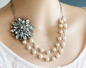 Pearl Bridal Necklace Bridal Jewelry Flower Necklace Wedding Jewelry Pearl Necklace Double Strand Bridal Gift