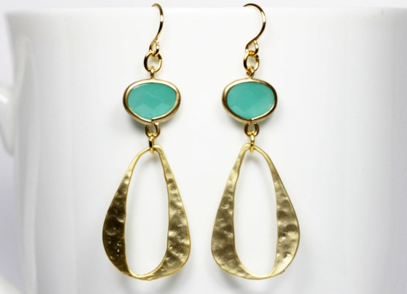 Turquoise Dangle Earrings Mint And Gold Modern Earrings