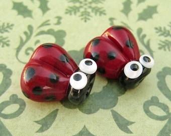 2 Glass Ladybug Beads - Lampwork Ladybug Beads - 14mm Ladybug Beads - Red Ladybug - SRA Handmade Lampwork - W