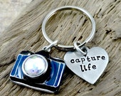 Capture Life - Camera Photographer Necklace or  Key Ring  -  by RoseCreekCottage - Keychain