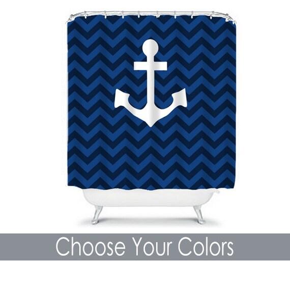 Anchor Shower Curtain Navy Blue Chevron Custom Monogram