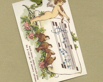 Musical Cupid for Valentine's Day Gift Art Tags,  Gift Tag Set, Hang Tags, Art Tag Set, Bookmarks PSS 0673