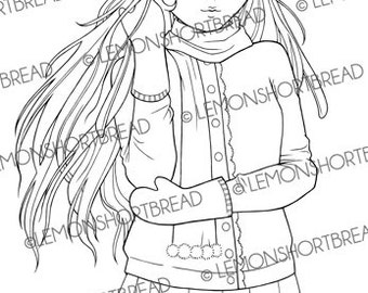 Digital Stamp Winter Cardigan Girl, Digi Download, Christmas, Anime Retro Style, Snow Fashion, Coloring Page, Clip Art