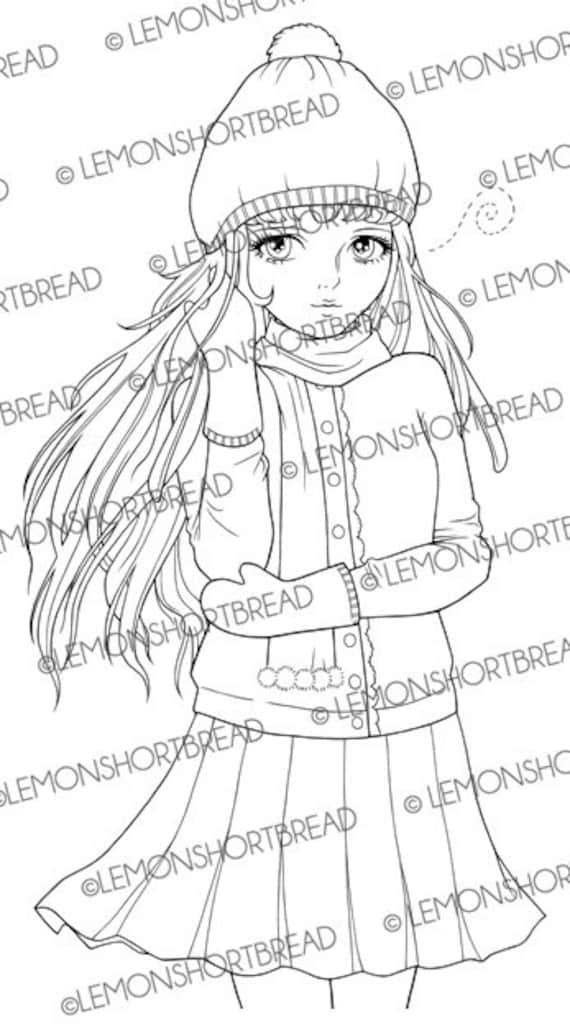 Digital Stamp Winter Cardigan Girl Digi Download Christmas