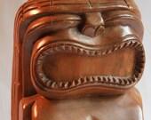 Vintage Tiki Statue Hand Carved Tiki Wooden Tiki God Hawaiian Mid Century Cool