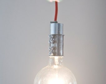 Industrial Pendant Light / Galvanized Rustic Lamp / Cloth Covered Wire Bare Bulb