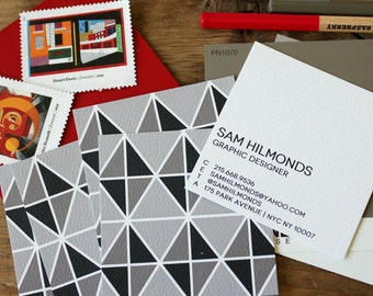 calling cards / business cards / gentleman cards / masculine mod triangles / grey / black - set (50)