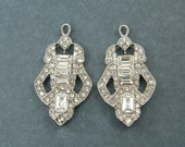 Art Deco Bridal Earring Findings Antique Silver Baguette Clear Rhinestone Studded Wedding Jewelry Supply |S9-13|2