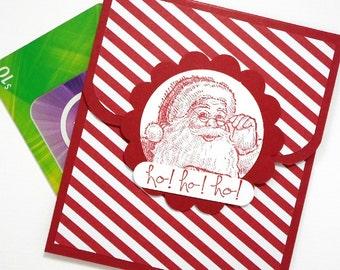 Christmas Card - Christmas Gift Card Holder, Santa Cards - Christmas Money Card - Holiday Tip Envelope - Hand Stamped Santa and Ho! Ho! Ho!