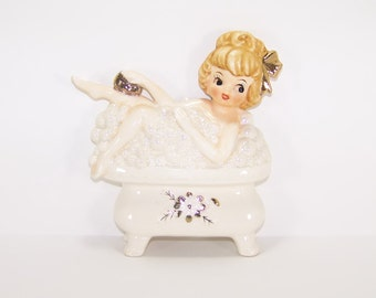 Vintage Rare ESD Girl Taking a Bubble Bath Wall Plaque or Figurine