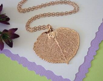 Rose Gold Aspen Leaf Necklace, Real Leaf Necklace, Aspen Leaf, Aspen Leaf, LC34