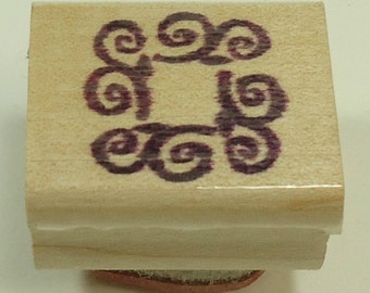 Swirly Square Wood Mounted Rubber Stamp