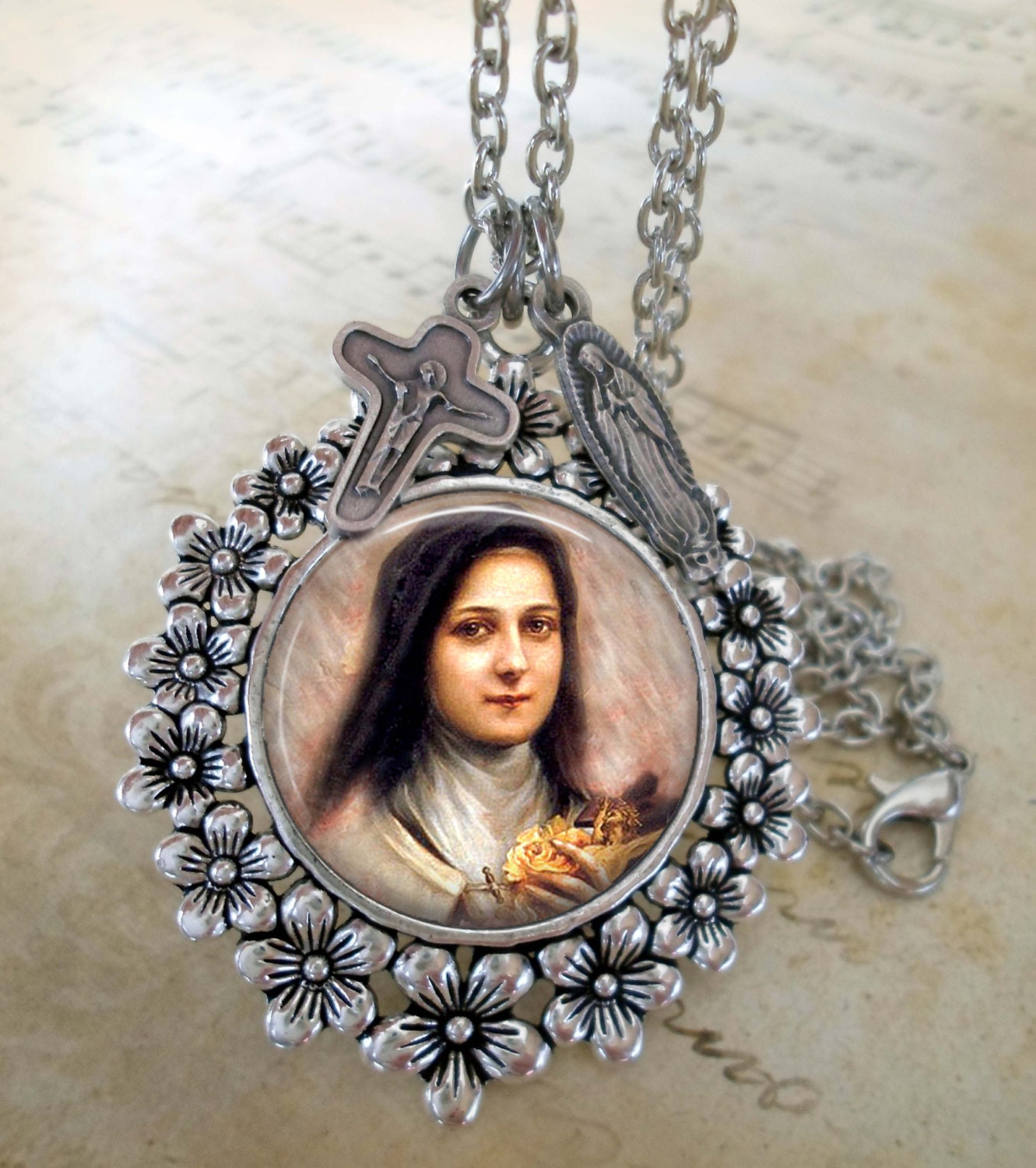 St Therese Lisieux The Little Flower Necklace by MarysPrayers