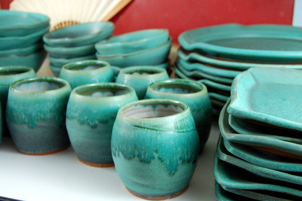 Eclectic Dinnerware Set Of 6 Place Settings In Turquoise