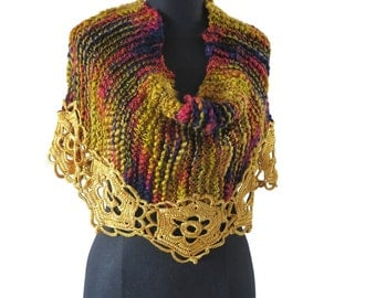 GLOWING -handknitting and crochet lace cover shoulders wrap poncho twisted mobius cowl - Ready to ship!