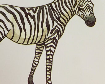 Vintage Print of Zebra Print African Animal Print Exotic Animal Art Card for Framing Modern Retro Zebra Home Decor Wall Hanging