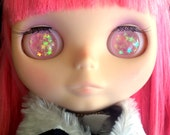 Pink Star Resin Glitter Eye Chips for Blythe or Byul