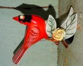 Vintage Pottery Red Bird, Winter Bird, Cardinal Red Bird Figure, Made in Japan, Christmas Red Bird, Winter Bird,