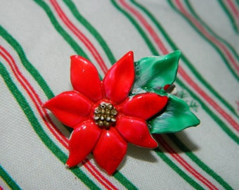 Sweet Red Christmas Poinsettia Pin, Brooch, Red & Green Holiday Colors, Christmas Flower Pin
