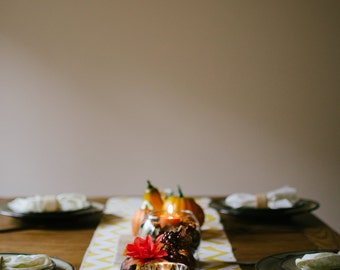 Thanksgiving Table Runner -  Table Runner - Embroiderd Burlap Runner - Home Decor - Thanksgiving Decor - Chevron Table Runner