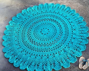 Turquoise Patio Porch Cord Crochet Rug 6.5 feet/2m/200cm