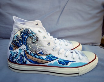 Hand Painted Converse Shoes - The Great Wave Off Kanagawa - White