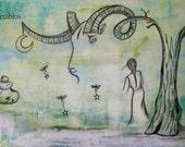Retablo Folk Art - Faun Creation, Dreamscape, Cairn, Goat Horn, Fireflies Moon and Stars, Dream Escape