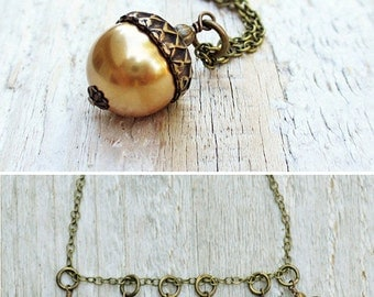 Pearl Acorn Necklace, Acorn Pendant Necklace, Acorn Charm, Antique Brass, Swarovski Pearl, Choose your Color, Autumn Wedding, Gift under 30