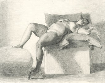 Original Charcoal Life Drawing of Female Nude Figure - Reclining Female Nude