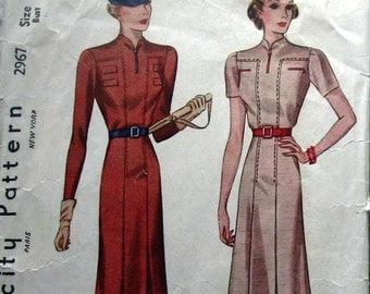 1930s Womens Vintage Dress Pattern With High Throated Neckline And Saddle Stitch Trim Simplicity 2967 Sz18