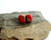Tiny Post Earrings, Reclaimed Wood Studs, Red Small Wooden Squares by Hendywood