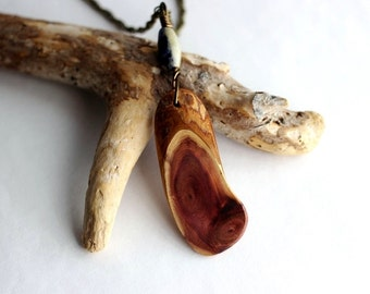 Wooden  Pendant Reclaimed Wood Necklace Eco Friendly Red Cedar Blue Lapis Lazuli Stone Bead Wire Wrapped Jewelry by Hendywood