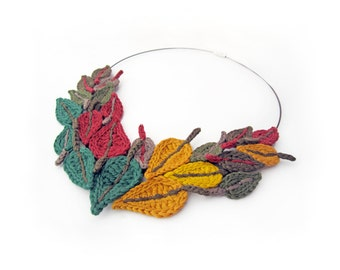 Crochet necklace,leaf crochet necklace,ethnic tribal necklace,Indian Summer,mustard,Christmas gift for her,Christmas finds,crochet leaves