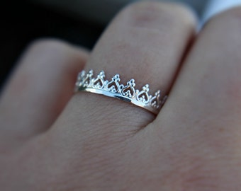 Sterling silver crown stacking ring - crown ring - princess ring - queen ring - dainty ring - fancy ring