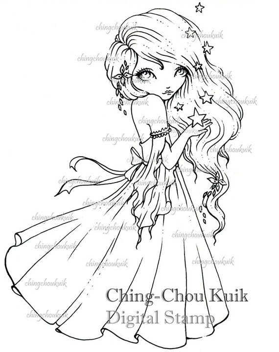 Wishing Stars - Digital Stamp Instant Download / Wish Falling Star Lil Sweetie Mia by Ching-Chou Kuik