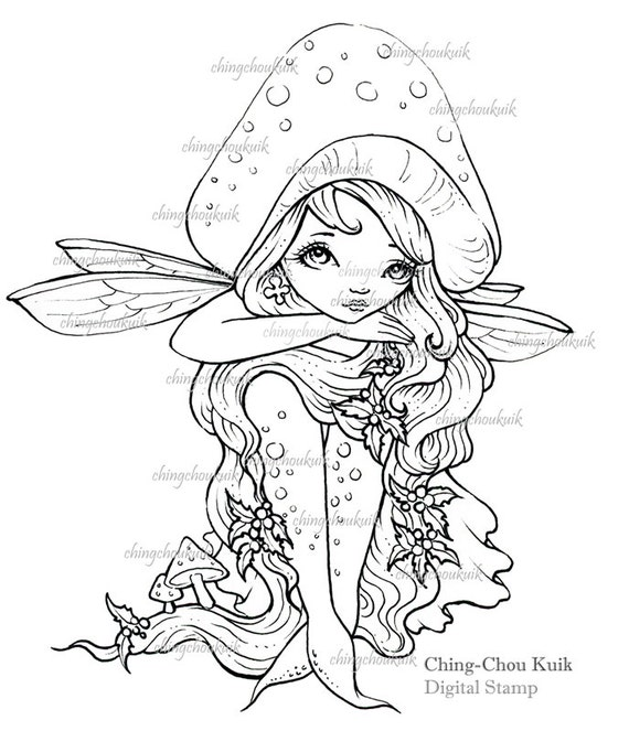 Toadstool Head - Digital Digi Stamp Instant Download / Christmas Holly Mushroom Fairy Fantasy Art by Ching-Chou Kuik