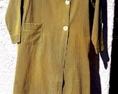 Vintage MOTORING COAT Cotton B Altman 5th Ave Blue Yellow Pinstripe