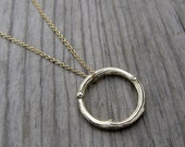 Twig Circle Necklace: Recycled White, Yellow, or Rose Gold; 14k