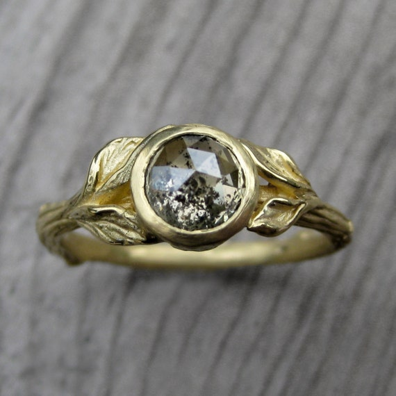 Rustic Diamond: Rustic Diamond Twig & Leaf Engagement Ring: 18k By