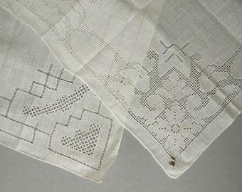 2 Vintage Wedding Hankies with Delicate Drawn work - Vintage 1950s Unused White Linen Hankie, Bride, wedding