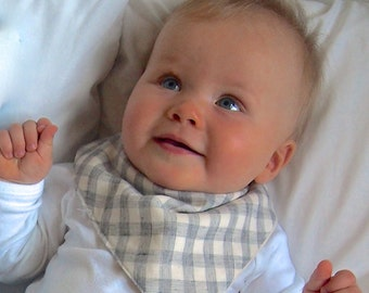 Bandana Baby Bib Reversible Grey and Ivory Plaid | Drool Teething Bandana Bib