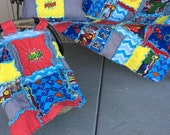 Rag Quilt, Car Seat Tent, and Throw Pillow, Superhero Themed, Crib Size Baby Blanket or Toddler Blanket