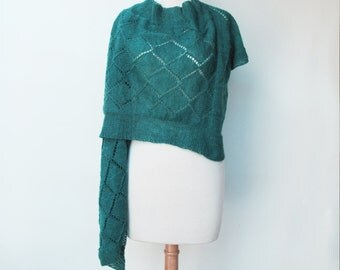 Woman's Sweater WrapTurquoise Diamond Lace Hand Knit Woman's Green Wrap Unique
