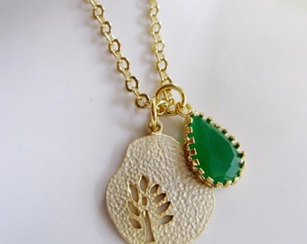 Gold Tree Necklace, Palace Green Teardrop, Emerald Teardrop, St. Patricks Day, Gold Leaves, Pear Tree Necklace, Bridesmaid gift,