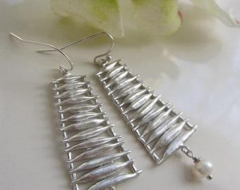 Silver Ladder Earrings, Long Dangle Earrings, Pearl Drop Dangle, Silver Pendant, Gift for Her, Gardendiva