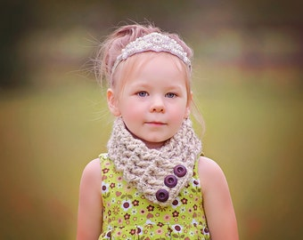 Toddler Scarf Toddler Scarflette Toddler Girl Scarf Toddler Boy Scarf Oatmeal Scarf Oatmeal Scarflette Brown Wood Button Scarf Button Cowl