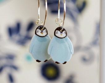 Penguin earrings, Cute Christmas earrings